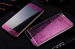 Wholesale Color Glass Diamond - Screen Protector Tempered Glass Film 3D Diamond Relief Pattern Color membrane For iPhone7 7plus 6s 6plus iphone 5s Front and Back with box