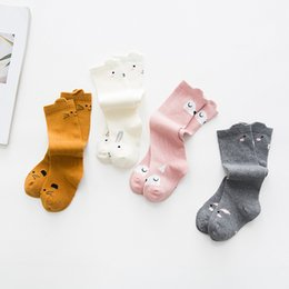 Wholesale Infant Brand Wear - Cartoon Baby Socks Autumn Fox Cat Squirrel Bunny Toddler Knee Socks Cute Fashion Infant leg Wear Ankle High Socks C1319
