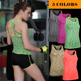 Wholesale Ms Top - The new 2017 ms hot stretch tight running speed workout clothes dry breathable jacket sports vest