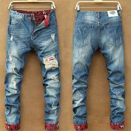 Wholesale Stylish Men Trousers - Wholesale-Hot Men Stylish Ripped Jeans Pants Biker Classic Skinny Slim Straight Denim Trousers
