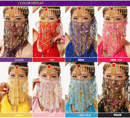 Wholesale Ocean Face - hand made embroidered mesh belly dance face veils plum flower veil Indian dance costume jewelry props face mask Stage Wear