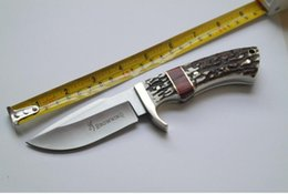 Wholesale Forging Damascus - classic browning knife Antlers red wood handle damascus steel knife blade hunting knife Antlers horn handle handmade damascus forged steel