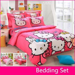 Wholesale Quilted Pillowcases - Wholesale-Brand Logo Hello Kitty Bedding Set Children Cotton Bed sheets Hello Kitty Duvet Cover Sheet Pillowcase King Queen Twin 4Pcs
