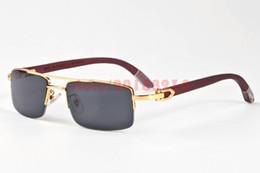 Wholesale Eye Glasses Half Frame Men - 2017 Fashion Wooden Sunglasses for mens Brand Designer Sunglasses Semi Rimless Wood Bamboo Legs Buffalo Horn Sun glasses lunettes de soleil