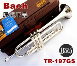 Wholesale Bach Tr - Wholesale- FREE SHIPPING EMS Silver plated carved bach tr-197gs Small musical instrument one piece bell professional grade