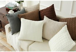 Wholesale Nordic Knitted - Nordic European Modern Cotton Knitted Cushion Sofa Chair Decorative Pillow Case 45*45cm Free Shipping