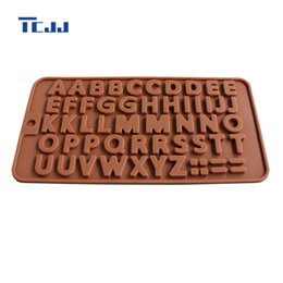Wholesale Candy Cake Letters - Wholesale- A To Z Silicone Chocolate Mold 26 Letters Alphabet Capital Letters Mold Jelly Candy Pudding Mould Home Kitchen DIY Cake Molds