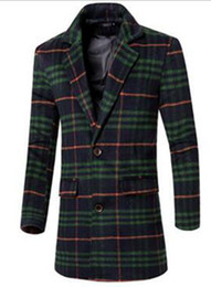 Wholesale Tweed Trench Men - Man han edition fashion in Europe and the United States the new boutique long winter tweed grid trench coat   M-3XL