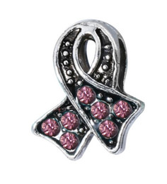 pink cancer awareness beads Promo Codes - Wholesale 30pcs Breast Cancer Awareness Charms Loose Bead Silver Snake Chain European Bracelet Bangle Fit Pandora Bead Charm DIY Jewelry