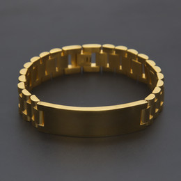 Wholesale Men 18k Solid Gold Bracelet - 21cm*1.5cm Solid Steel Belt Exquisite Wild Fashion Men's Toggle-clasps Stainless Steel Watch Chain Hip Hop Men Bracelet Jewelry