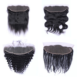 Wholesale Brazilian Virgin Remy Loose Wave - Brazilian Virgin Hair Body Wave 13x4 Lace Frontal Remy Hair Straight Loose Deep Wave Kinky Ear to Ear Lace Closure Human Hair Exrensions
