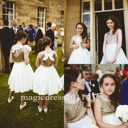 Wholesale Knee Length Chic Wedding Dresses - 2017 Chic White Flower Girls Dresses Sparkly Gold Sequins Knee-Length Jewel A Line Back with Bow Kids Formal Dress Junior Bridesmaid Dress
