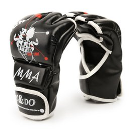 1Pair Man Women Half Finger Fight Boxing Gloves Mitts Sanda Karate Sandbag Protector for Boxeo MMA Muay Thai Kick Boxing Gear Coupons