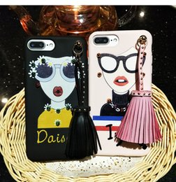Wholesale Cases For Sunglasses Wholesale - Newest Fashion Lip Super Hot 3D Soft TPU Goddess Rivet Tassels Case Sunglasses Silicone back Cover Shell for iphone 7 for iphone 6 plus