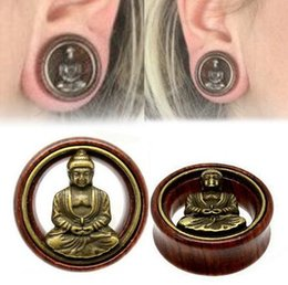 Wholesale Gold Ear Plugs Tunnels - Fashion 1 Pair Wood Buddha Ear Plugs Double Flared Flesh Tunnel Gauges For Women Men Body Piercing Jewelry 8-20mm
