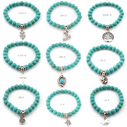 Wholesale silver turquoise stone chain bracelet - Natural Lava Stone Turquoise Prayer Beads Charms Bracelets Anti-fatigue Volcanic Rock Men's Women's Fashion Diffuser Jewelry KKA1088