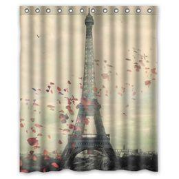 Wholesale Paris Shower Curtain - Wholesale- Waterproof Shower Curtain Paris Eiffel Tower Scenery Design Bathroom Curtain Cortinas de Bano 152*180cm #84278