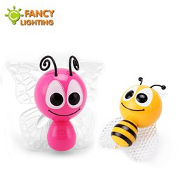 Wholesale Bees Birthday - Wholesale- LED colorful night light Decoration RGB led night lamp Little Bee & Butterfly children lamp for home decor& birthday gift baym