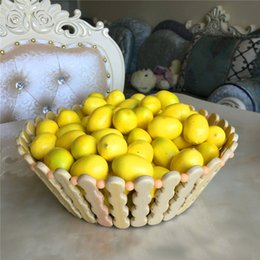 Wholesale Lemon Decorations - 4.5CM Mini Artificial Faux Lemon Simulation Polylon Washable Fruits Living Room Home Decor Festival Decoration 100pcs lot DEC259