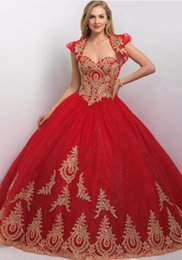 Wholesale Jacket Ball Gowns - Princess Ball Gown Red Gold Quinceanera Dresses With Jacket New Sequin Tulle Lace Appliques vestidos de quince 2017