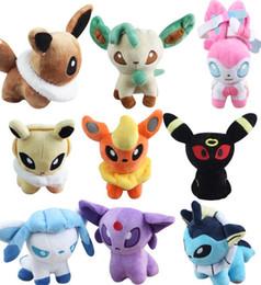 Wholesale Pokemon Plush Dolls - 13cm Poke Plush Toys Doll Umbreon Eevee Espeon Jolteon Vaporeon Flareo Stuffed Animals Toys Soft Doll Christmas Gift PPA781