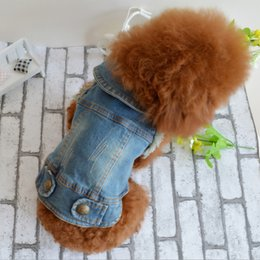 Wholesale Personalized Wedding Clothes - Wholesale puppy clothes, Teddy Bear pet spring and summer fashion than the Bear grasp the pattern of personalized denim vest