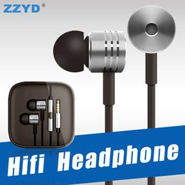 Wholesale Chinese Yellow - ZZYD Xiaomi HIFI Headphone Noise Cancelling Headset Universal 3.5MM Metal Earphone For Xiaomi Samsung Sony LG with retail package