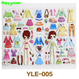 Wholesale Kids Dress Type - Happyxuan 6pcs pack Cute Girls Dress Up Stickers Pvc Bubble For Kids Learning Early Toys 2-6 Years Old YLE Series