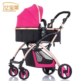 Wholesale Wheeled Bag Foldable - Wholesale- 2017 New design foldable aluminum Luxury baby stroller 3 in 1 , stroller carry bag, 5 colour four wheels single seat