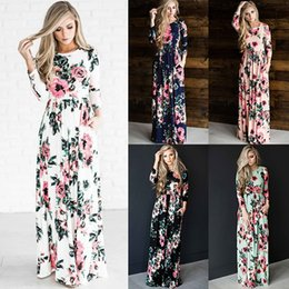 Wholesale Long Black Skirts Fashion - Women's Fashion Spring 3 4 Sleeve Classic Rose Maxi Dresses Long Sleeve Skirt Casual Dresses Multicolor 170607