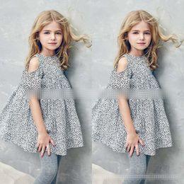 Wholesale Beach Dress Girls Leopard - Girl INS Leopard Princess dress 2017 new Children fashion cartoon ins sling sleeve dresses baby clothes 2-8 years B001