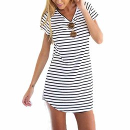 Wholesale Loose T Shirts For Girls - Wholesale-Fashion Tops 2016 New Striped Shirt Women Summer Casual O-Neck Short Sleeve Loose harajuku T-Shirt For Women Girls Camisetas