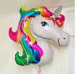 Wholesale Inflatable Wholesale Ballons Kids - Balloons Unicorn Foil Party Supplies Animal Helium Ballons Globos Inflatable Classic Toys Birthday Party Decorations Kids Balloon 112*87cm