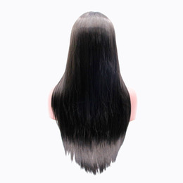 Wholesale Lace Wigs America - yaki straight heat resistant fiber hair half hand tied synthetic lace front wig for africa america women wigs
