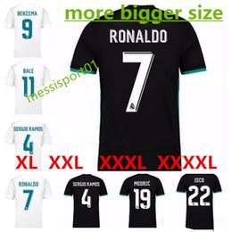 Wholesale Bigger Sizes - HOT bigger size XXL 3XL 4XL 2017 FAT Real Madrid away soccer jersey 17 18 Home Ronaldo MODRIC ISCO BENZEMA football shirts free shipping