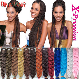 Wholesale Hair Extension Red - Xpression Braiding Hair Extension Kanekalon Synthetic Hair For Braid 165g jumbo box senegalese braids crochet braids 28 colors avaliable