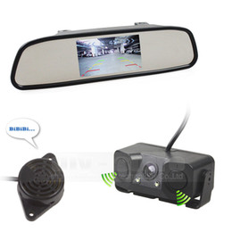 Wholesale Parking Sensor Vision System - Auto Speaker Parking Monitor System Parking Radar Sensor LED Night Vision Car Camera + 4.3 inch Car Mirror Monitor