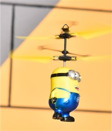 Wholesale Radio Helicopter Toy - Retail 2017 Male&Female Despicable ME Flying Fly Minion Radio Sensor RC Helicopter Toys Gifts ME best gift for Kids