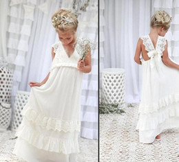 Wholesale Girls Summer Blue Dresses - .2017 Bohemian Summer Beach Flower Girl Dresses V Neck Vintage Lace Tiers Lace Cute Princess Girls Dresses For Wedding Custom