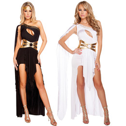 Wholesale Sexy Roman - Sexy Goddess Costume Greek Princess Cosplay Dress Halloween Party Athena Egyptian Carnival Outfit One Shoulder Dress