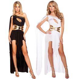Costumi egiziani online-Costume da dea sexy Costume principessa greca Vestito da festa di Halloween Vestito Athena da carnevale egiziano Vestito da spalla