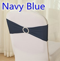 Wholesale Wedding Chairs Covers For Sale - Navy blue colour on sale chair sash with Round buckles for chair covers spandex band lycra sash bow tie wedding decoration