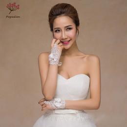 2019 guanti immagini Popodion perline pizzo nodo guanti da sposa senza dita guanti da sposa donna accessori da sposa guanti per spose dhWAS10005