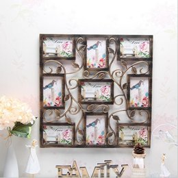 Wholesale Framed Picture Collage - White Square Plastic Flower Wall Photo Frame Collage Hanging Family Picture Display Home Decor