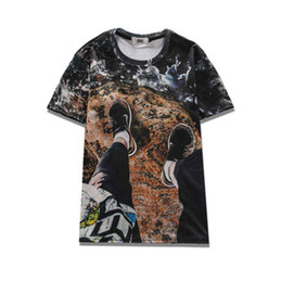 Wholesale Mens Summer Beach Wear Fashions - 2017 sping new summer wear novelty tees 3d print on a beach rock mens short-sleeve womens tee unisex o-neck cool hip hop t-shirts
