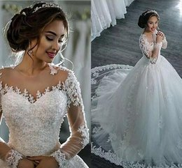 Wholesale Elegant Beaded Satin Bridal Gowns - Modest Plus Size Lace Ball Gown Wedding dresses Sheer Neck Long Sleeve Formal Wedding Gowns With Beads Covered Button Elegant Bridal Gowns