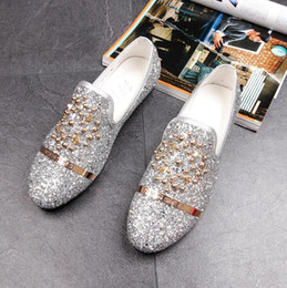 Wholesale Silver Glitter Wedding Shoes - New Dandelion Spikes Flat Leather Shoes Rhinestone Fashion Mens Loafers Dress Shoes Men Slip On Casual Diamond Pointed Toe Shoes