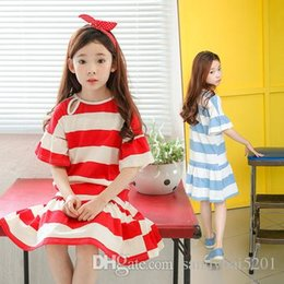 Wholesale Striped Infant Princess Dress - Kids Girls Striped Dresses Baby Girl Ruffle Dress Infant Princess Short Sleeve Dress for Party Dress 2017 Summer Children Boutique Clothing