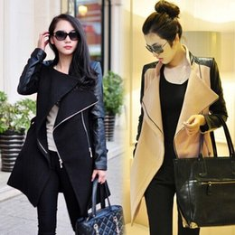 Wholesale Trench Coat Femme - Autumn Winter Spliced Pu Leather Sleeves Long Coat Female Slim Patchwork Trench Women Manteau Femme Casacos WCB0011