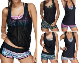 Wholesale 2017 Sexy Women Swimwear Three pieces Tankini with Shorts Sporty Bathing Suits Women Plus size S XL
